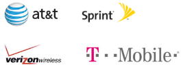 The logos of AT&T, Sprint, Verizon and T-Mobile